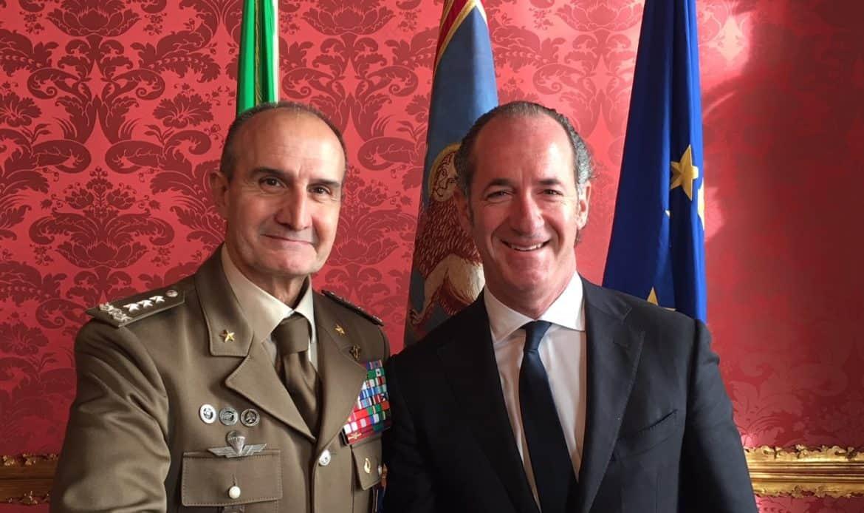 Il presidente Zaia incontra il generale Serra in visita di cortesia
