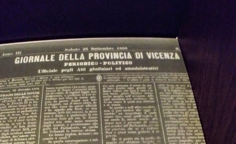 26 settembre 1868: il neonato Giornale della Provincia di Vicenza s'interroga sul voto alle donne