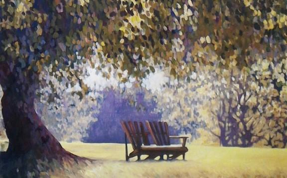 Gli alberi iniziano a fiorire, nei viali e nelle pennellate di Ida Harm