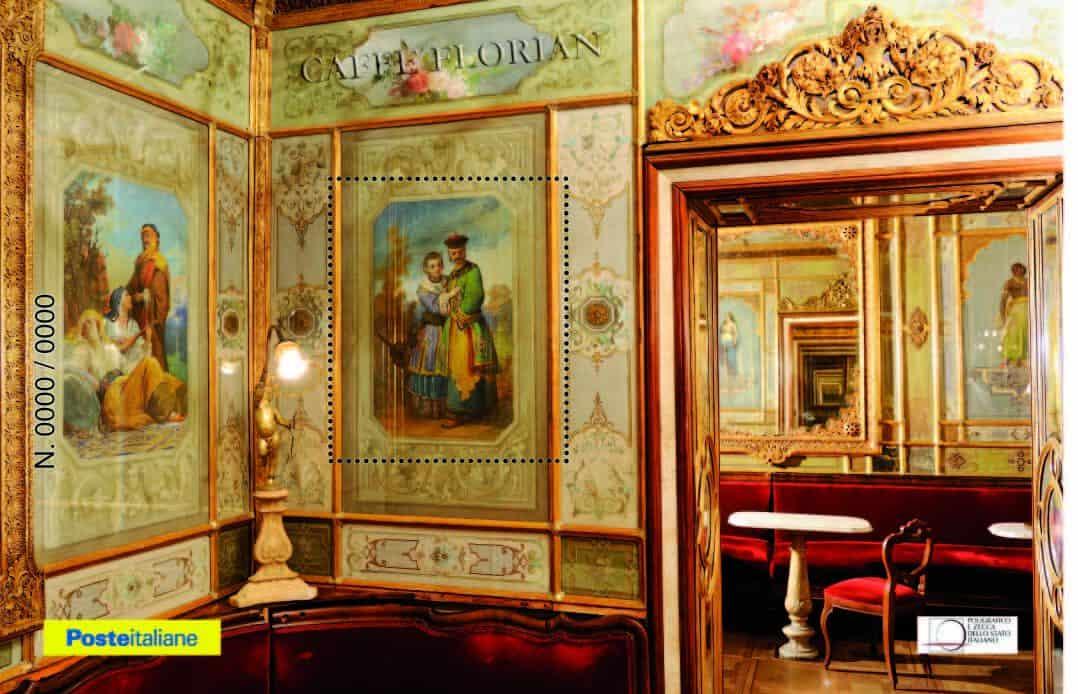 Il caffè Florian di Venezia e Poste Italiane, un foglietto erinnofilo dedicato all'antico caffè