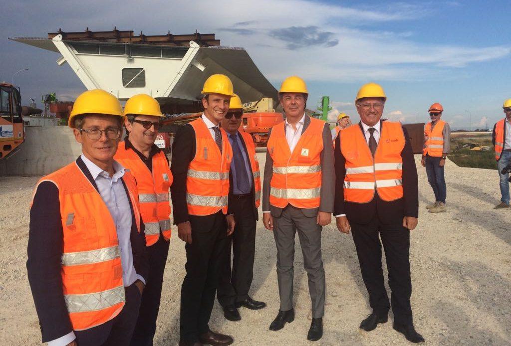 Fedriga in visita ai lavori per il varo del nuovo ponte sul nodo di Palamova