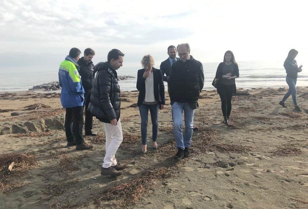 Maltempo, Riccardi e l'assessore Zilli in sopralluogo a Lignano Sabbiadoro per verificare i danni