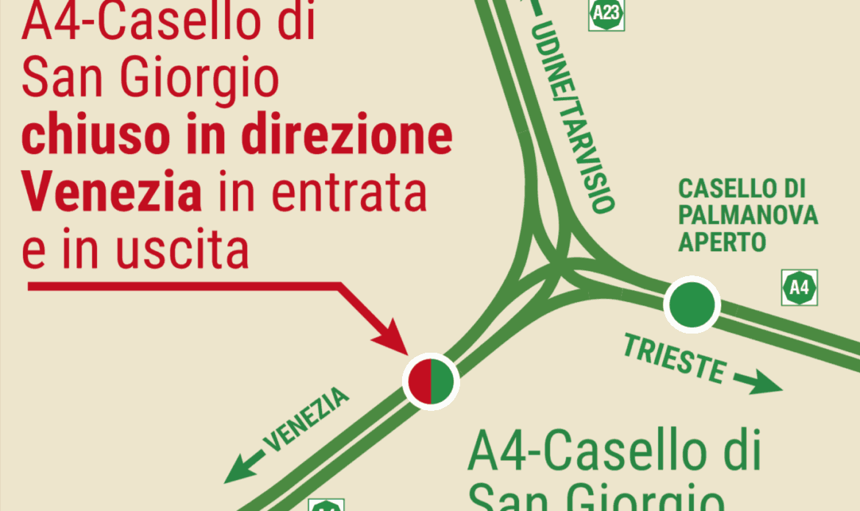 A4, terza corsia chiude lo svincolo di San Giorgio di Nogaro fino al 24 gennaio