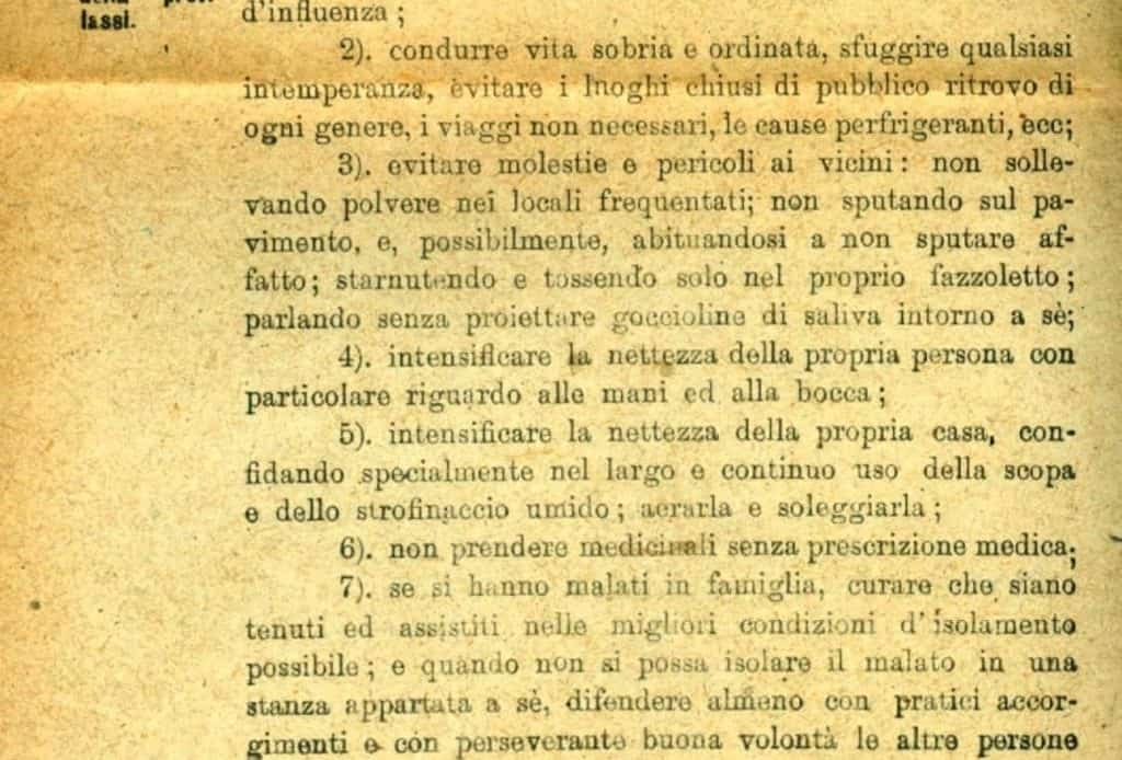 Le regole contro l'influenza del 1918. Dall'archivio spunta un documento simile a quello contro il coronavirus