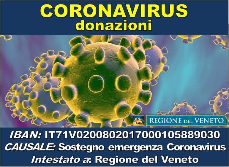 EMERGENZA CORONAVIRUS. Tante offerte di sostegno alla sanità in Veneto. Aperto un conto corrente